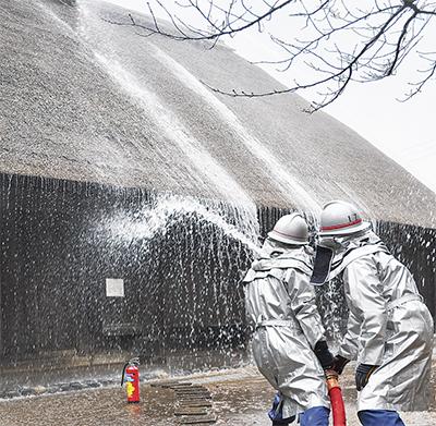 古民家で消火訓練