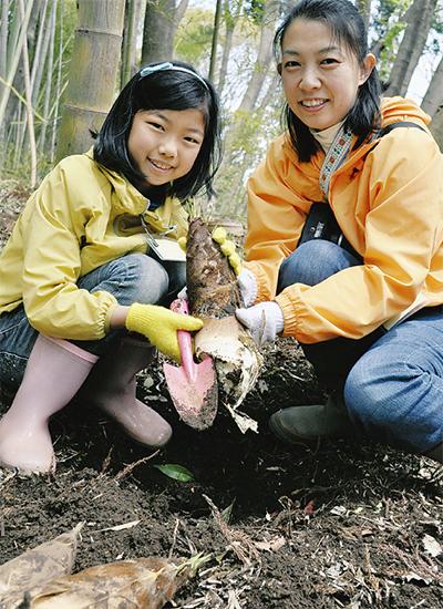 タケノコ掘りで環境保全