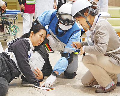 市立病院で災害対応訓練