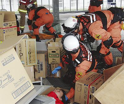 市立病院で災害訓練