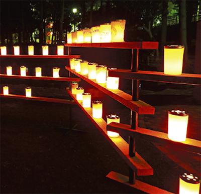 中央公園に幻想的な灯り