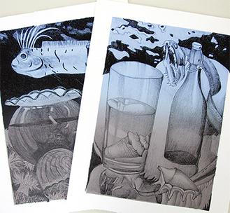 深海生物を描いたリトグラフ。展示会では様々な分野から300点を超える作品が紹介される