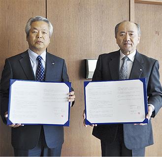 石崎理事長(左)と木村町長