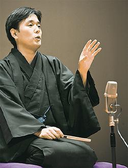 チャリティー寄席を行う立川左平次さん