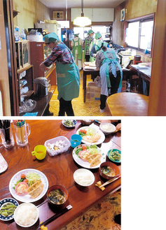 食事の準備に励むスタッフ。5月の献立はアジフライだった