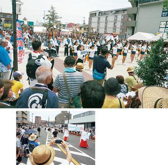 今年は奉祝パレードとして、国学院大のマーチングバンドとチアが先導