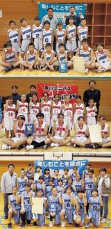 ミニバス県大会湘南5ワクの中に寒川から3チーム。上から「一之宮」男子、「寒川」女子、「一之宮」女子