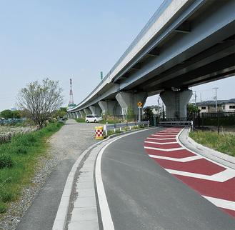 自転車道路の工事が始まる海老名市との市境付近
