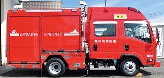 ▲新しい災害対応特殊消防ポンプ車は800リットルの水やエンジンカッターなどの機材を積む