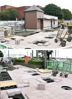 整備が進む防災トイレとマンホールトイレ=綾瀬市民文化センター