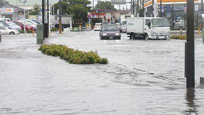 台風18号 各所で浸水