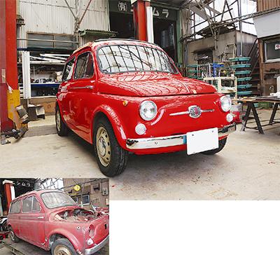 同社に入庫した当時のフィアット(左)が見事にレストアされ生まれ変わった(上)。欧州で大人気を博した車種で、日本ではルパンの車として有名