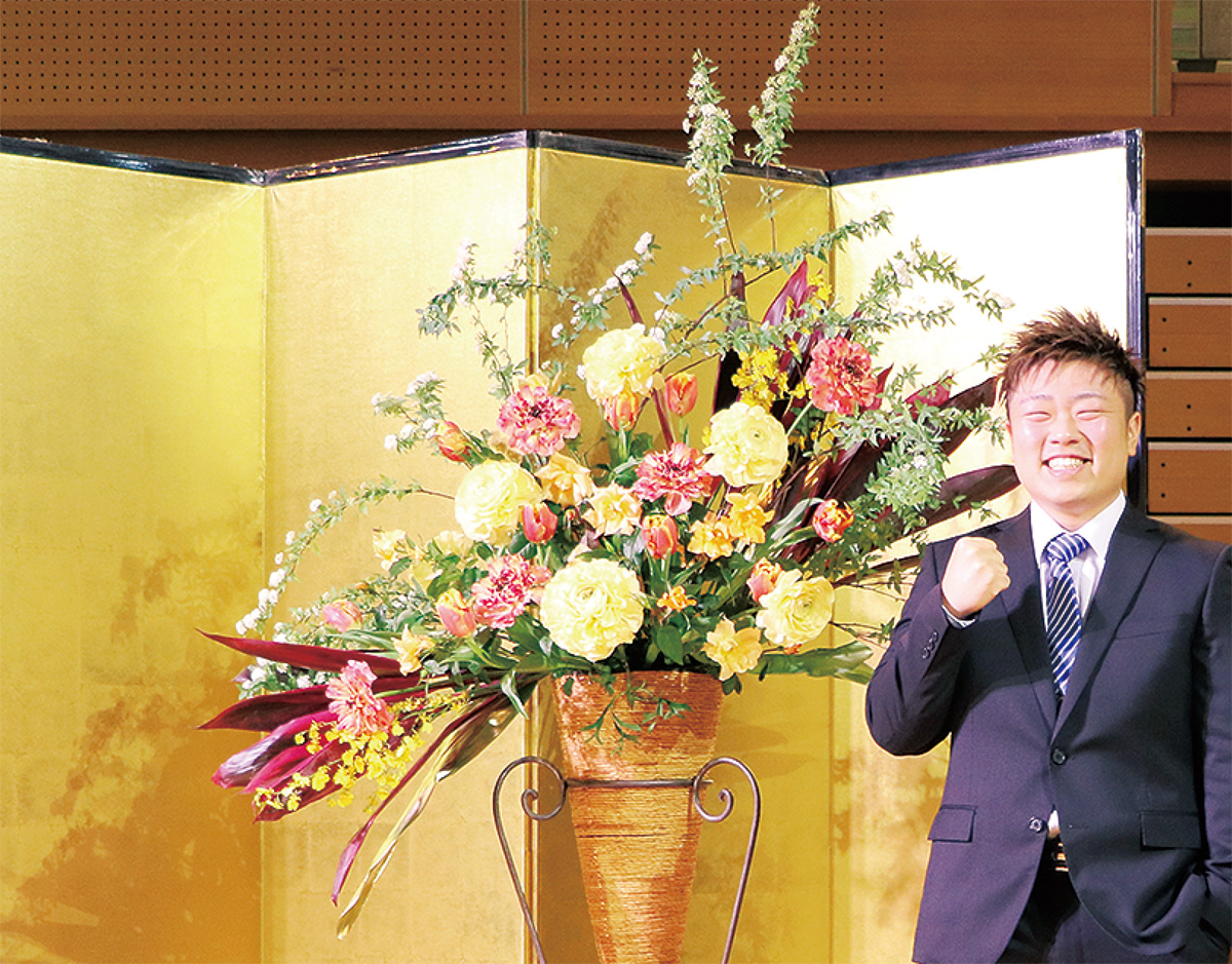 小川さん成人式で生花