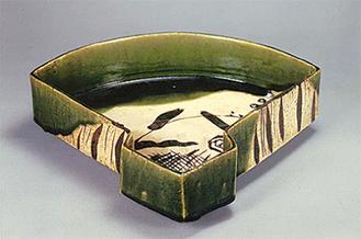 織部扇面鉢(昭10〜20年代)