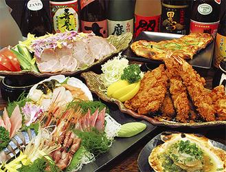 ▲2時間飲み放題付宴会プラン(3500円〜)。盛り付けも艶やかで女性からも喜ばれている。