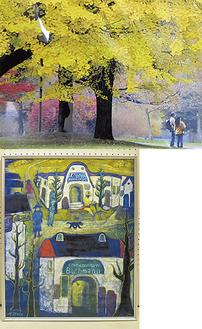 ㊤河合清之さんの作品『来て良かったね』㊧礒部正勝さんの作品『イタリアの想い』