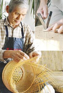 竹を編んでいく東さん。使用する竹は小刀で幅を揃える(右上)