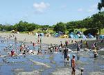夏休み、子ども達の歓声につつまれる「水無川」