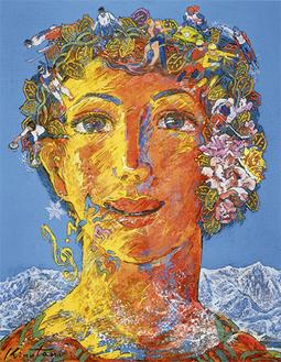 展示作品 絹谷幸二《銀嶺の女神》1997 年