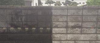 塀の汚れの右半分を施工、比較した