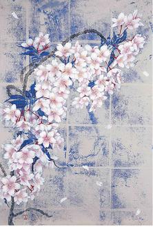 大島桜に力強く滝を昇る龍を重ねて描いた「大島桜(瀧)」
