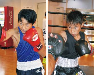 ミット打ちに励む伊藤光人さん(左)と大澤陽さん(右)