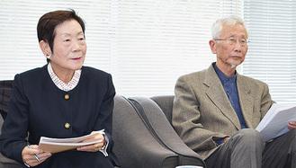 会見で発表する大藏さん㊧と飯尾さん