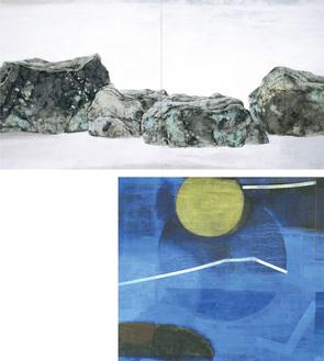 (右)荘司貴和子《玄海の月》1976年、東御市梅野記念絵画館蔵(上)荘司福《刻》1985年、神奈川県立近代美術館蔵