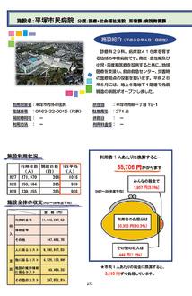 別冊の左ページで施設紹介や利用状況、コスト、市民1人当たりの負担額等を記載。右ページには詳細情報が載る。