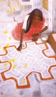 秋野不矩 《朝の祈り》  1987年浜松市秋野不矩美術館蔵