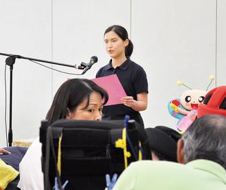 生徒代表であいさつした木村さん
