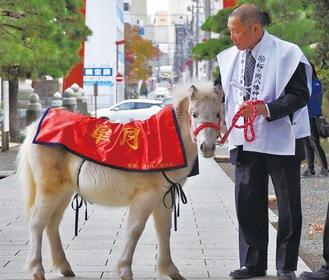 奉納された神馬「皐月」と平塚さん(26日撮影)