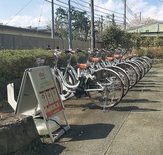 回遊性向上の取り組みとして設置されているサイクルポート