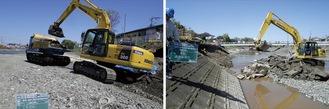 金目川における災害復旧工事の様子(2013年)