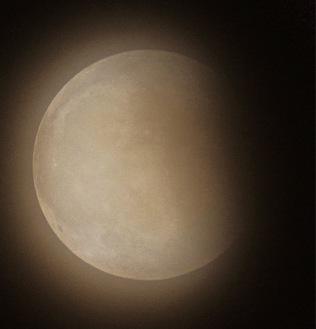 市内で撮影された部分食が起きた月(5月26日午後9時41分 平塚市博物館藤井大地学芸員提供)