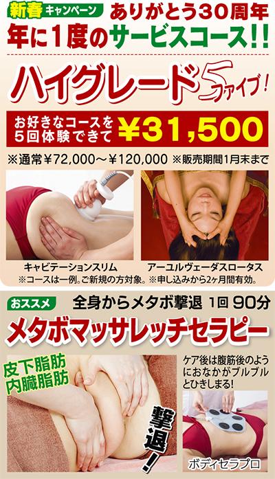 痩身・美顔5回体験 3万1500円