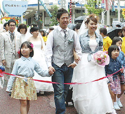 「七夕結婚式」で愛誓う