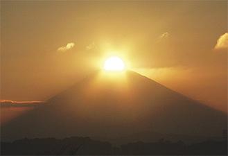 県立大磯城山公園展望台からのダイヤモンド富士(写真提供/大磯城山公園)