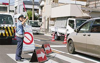 交通規制が敷かれた国道1号線