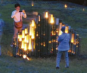 昨年の竹灯篭オブジェ