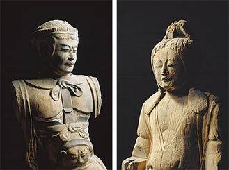 男神立像(左)と女神立像(右)。ヤマタノオロチ退治で有名な櫛稲田姫と素戔嗚尊の夫妻と推定される