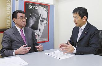 対談する河野大臣(左)と中西参議院議員