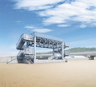 津波避難タワーの完成予想図(大磯町提供)