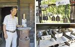 代表の上島さん(左)と、錫の含有量が異なる風鈴の展示(右上)製造に欠かせない鋳型は上島さんが設計した(右下)