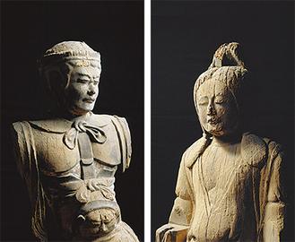 男神立像(左)と女神立像(右)