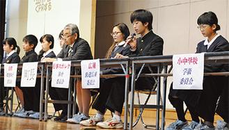 町を盛り上げるアイデアを発表する生徒