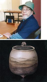 (上)小野寺玄さん=ギャラリーさざれ石提供(下)炭化練上香炉「山荘」=増尾峰明氏撮影