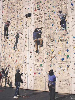 15mの巨大な壁のぼりに挑戦も