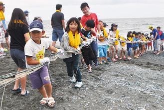 地引網を体験する参加者 =二宮町の梅沢海岸