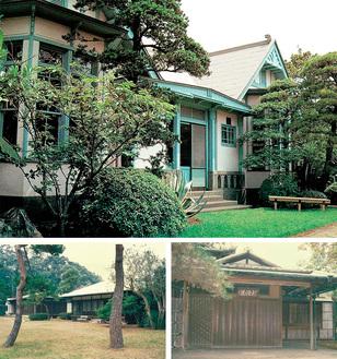 公開される旧伊藤博文邸(写真上)、旧大隈重信邸(左下)、旧陸奥宗光邸